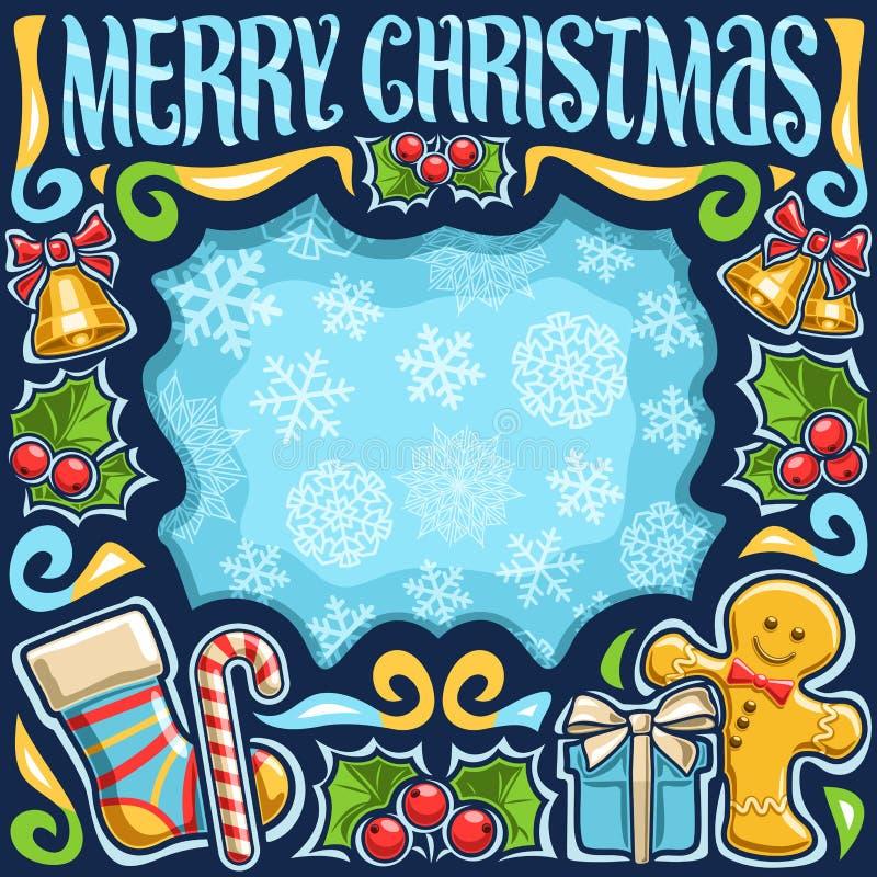 Vektorram för glad jul stock illustrationer