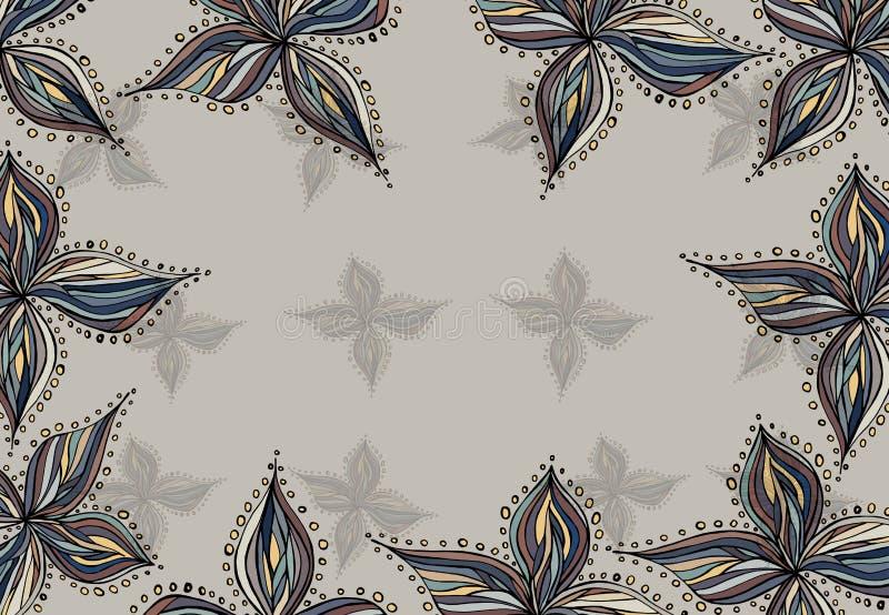 Vektorram med abstrakta beståndsdelar i tappningstil royaltyfri illustrationer