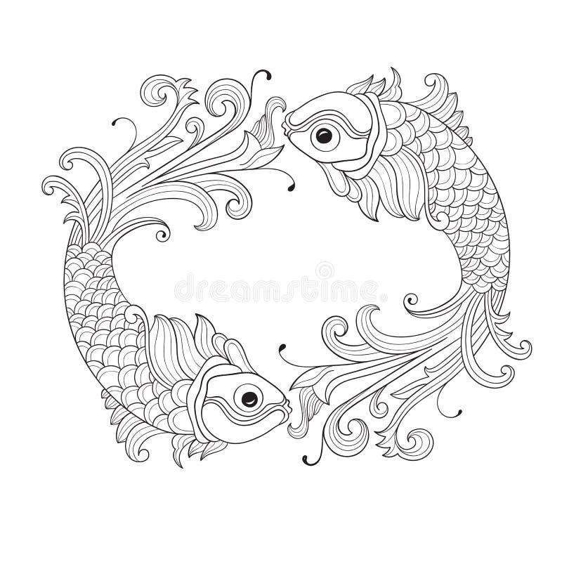 Vektorram med fiskar royaltyfri illustrationer