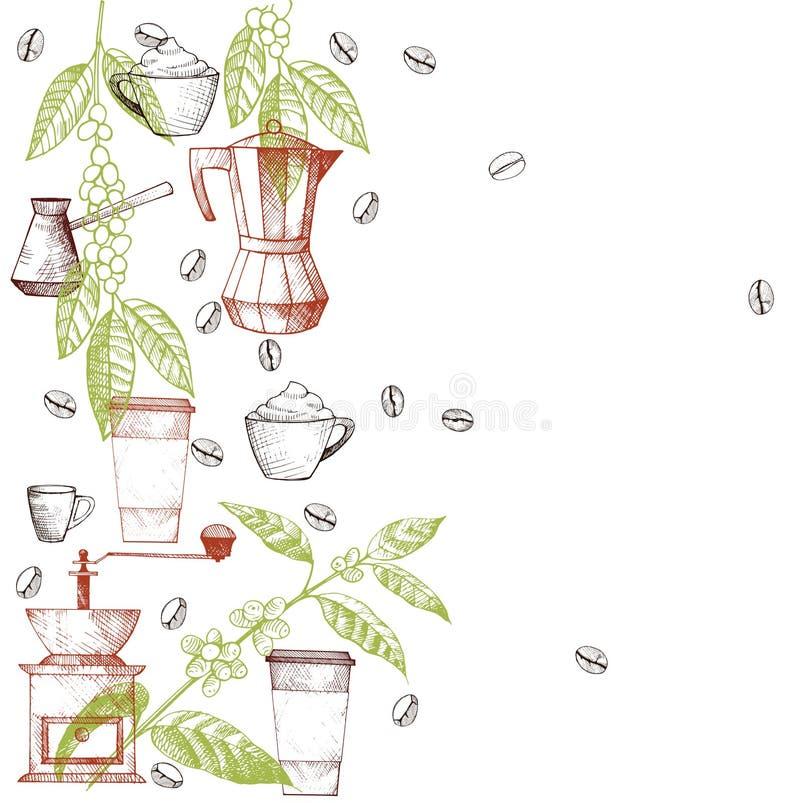 Vektorram med kaffe stock illustrationer