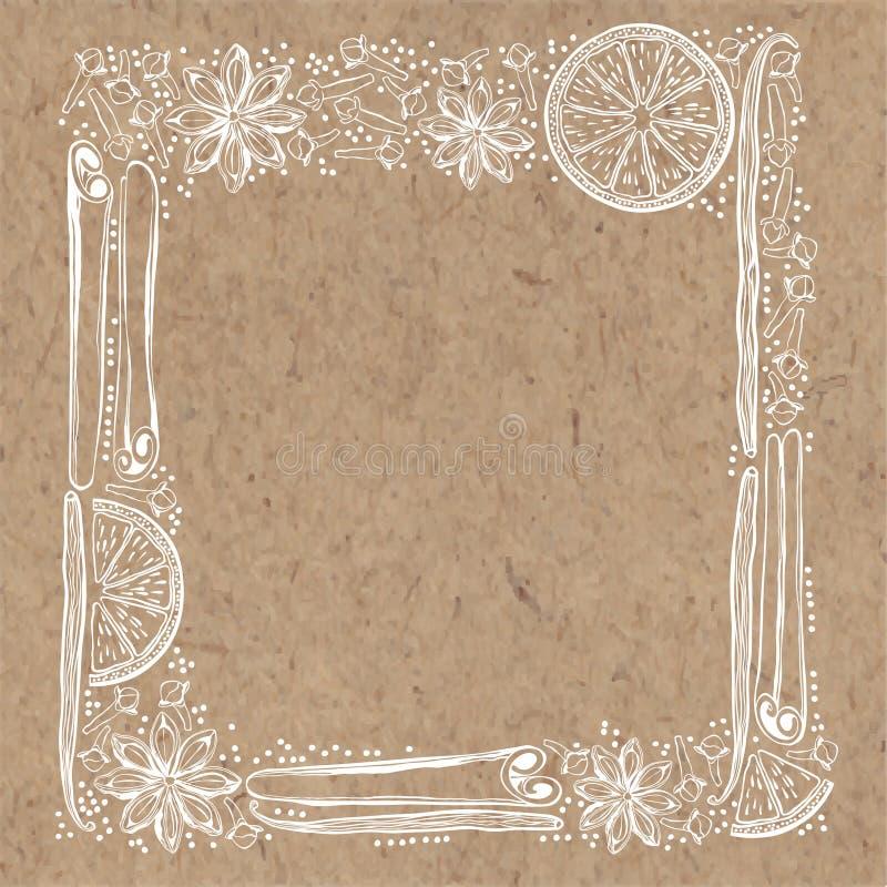 Vektorram med kryddor och apelsinskivor på backgr för kraft papper royaltyfri illustrationer