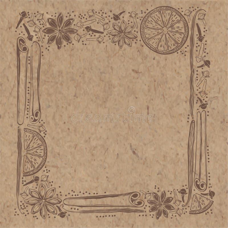 Vektorram med kryddor och apelsinskivor på backgr för kraft papper vektor illustrationer