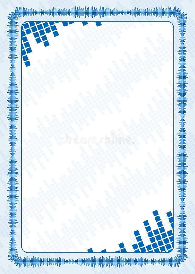 Vektorram och gräns med blåa volymnivåer för diplomet, certifikat stock illustrationer