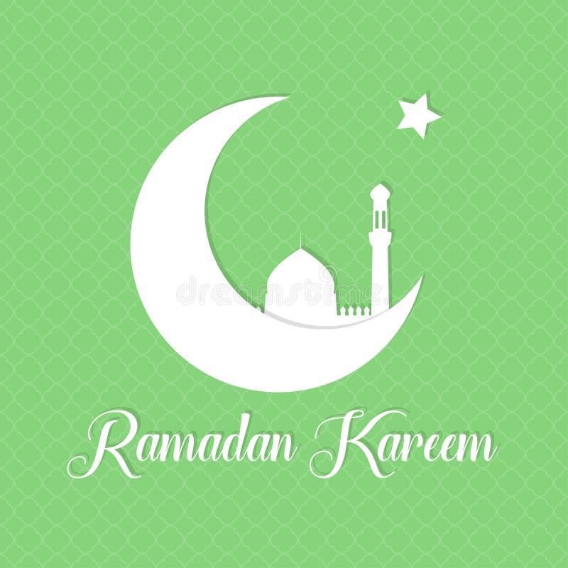 Vektorramadan bakgrund Mall för Ramadan Kareem hälsningkort med halvmånformigt, stjärnan och konturn av moskén royaltyfri illustrationer