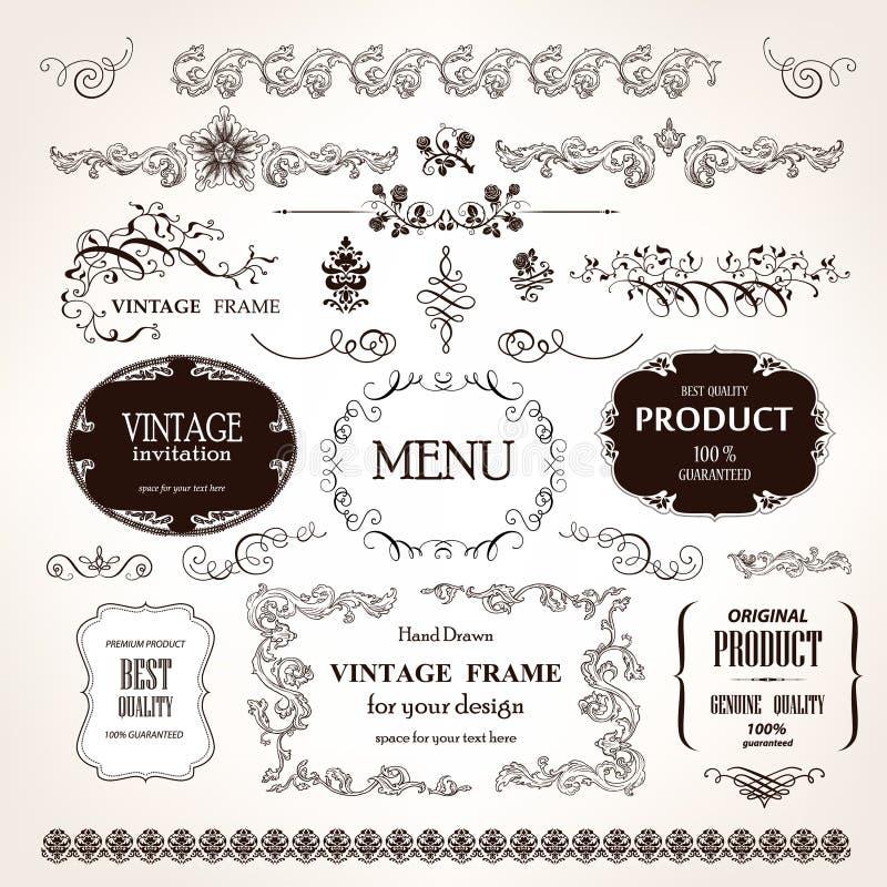 Vektorramar och calligraphic beståndsdeluppsättning för design stock illustrationer