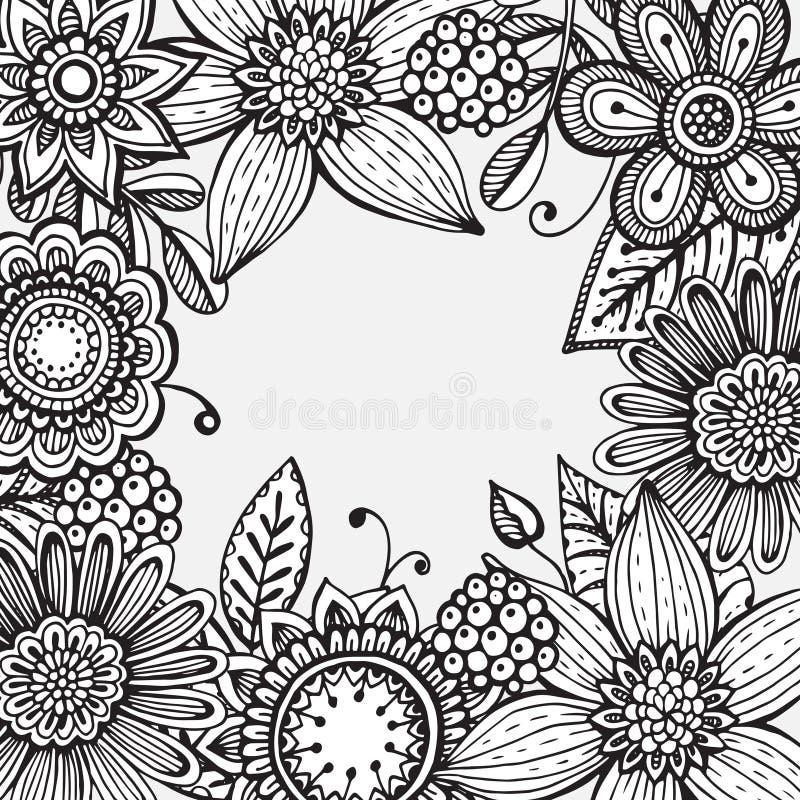 Vektorramen med handen dragit klotterinfall blommar vektor illustrationer