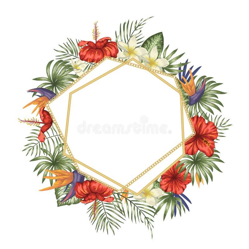 Vektorrammall med tropiska sidor och blommor, guld- kedja med det vita stället för text Fyrkantigt orienteringskort med stället f royaltyfri illustrationer