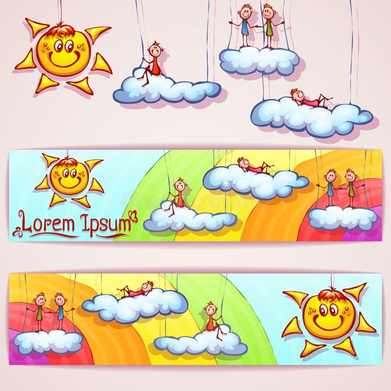 Vektorregnbågebaner med smileysolen, moln och vektor illustrationer