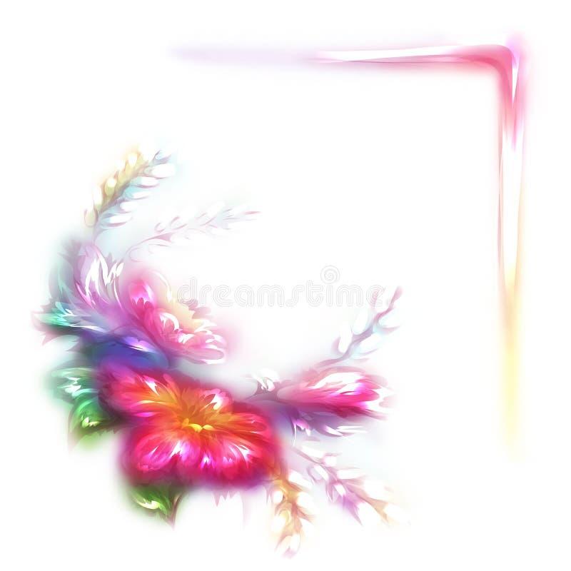 Vektorregnbågeram med blomman i hörn på vit bakgrund stock illustrationer
