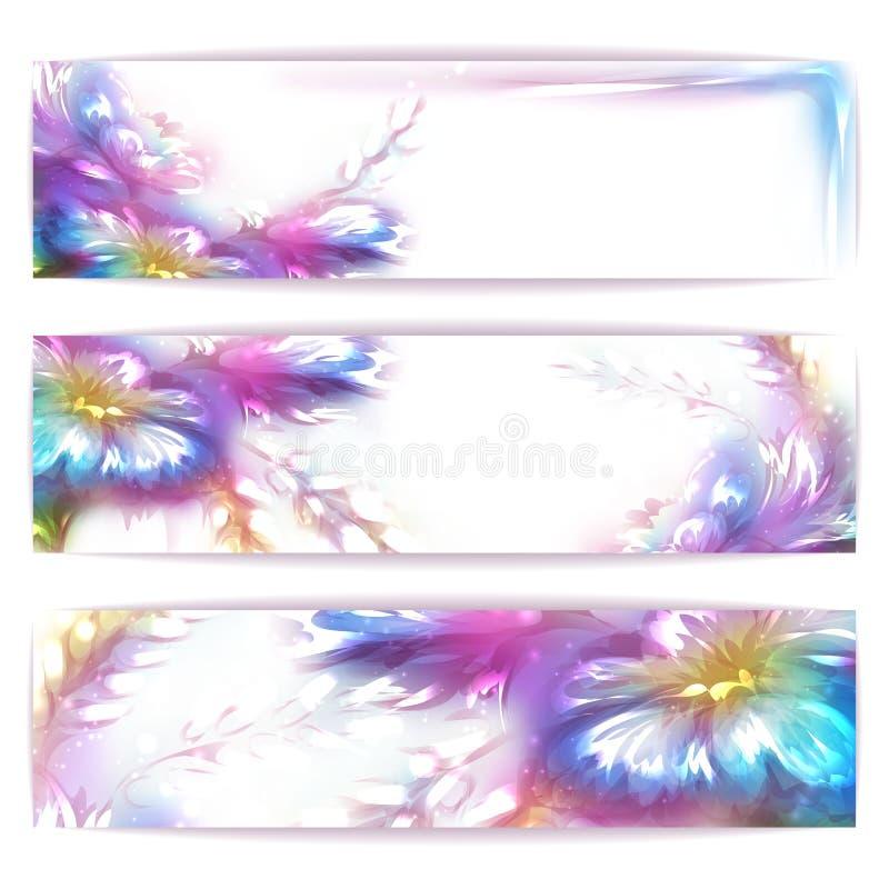 Vektorregnbågeram med blomman på vit royaltyfri illustrationer