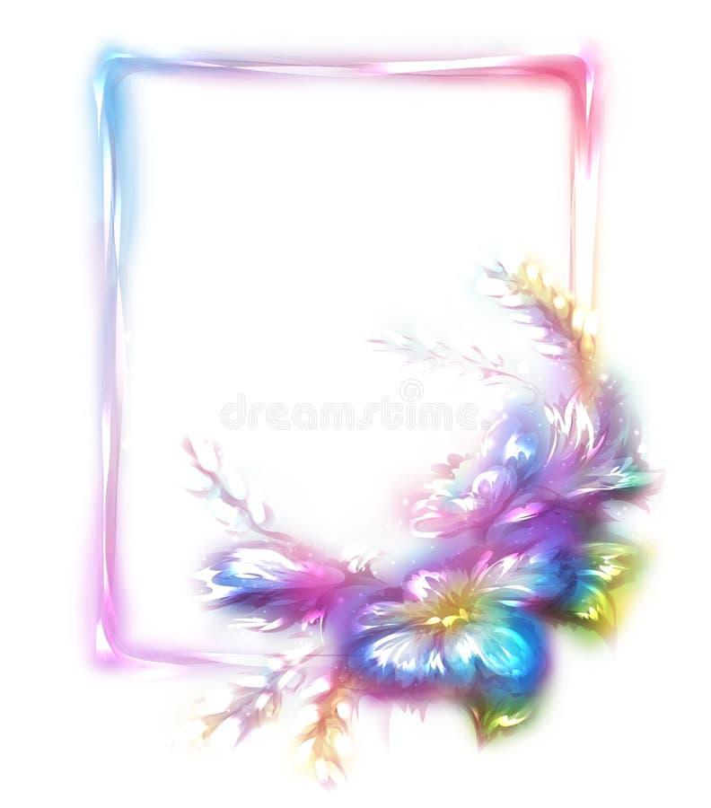 Vektorregnbågeram med blomman på vit stock illustrationer