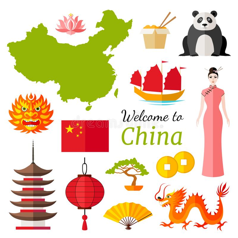 Vektorreisefahne Willkommen nach China lizenzfreie abbildung