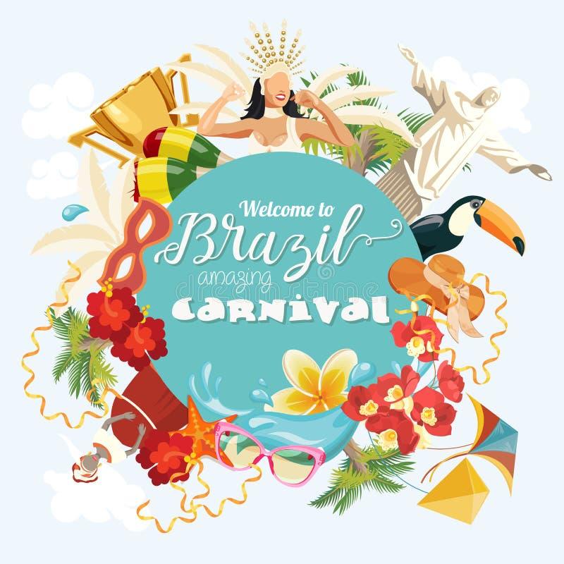 Vektorreiseplakat von Brasilien Willkommen zu erstaunlichem Karneval Brasiliens vektor abbildung