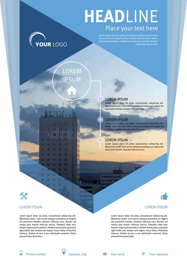 Vektorreklamblad, företags affär, årsrapport, broschyrdesign royaltyfri illustrationer