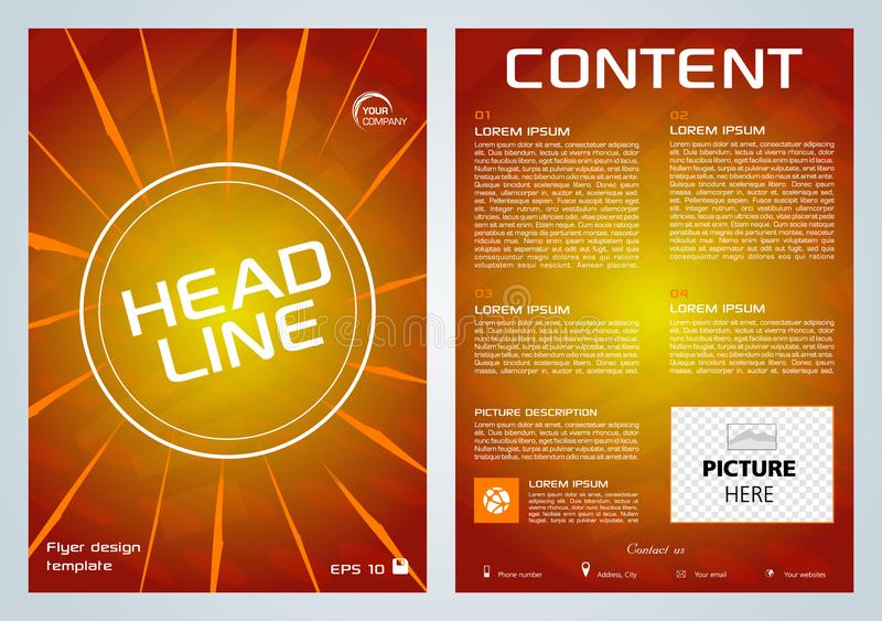 Vektorreklamblad, företags affär, årsrapport, broschyrdesign och räkningspresentation med den orange linjen på röd bakgrund stock illustrationer
