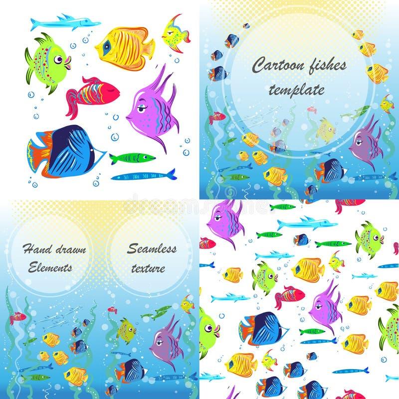 Vektorreklamblad med linjära konturer av den undervattens- fisken Skissa av braxen, karpen, forellen, laxen, sittpinne i tappning royaltyfri illustrationer