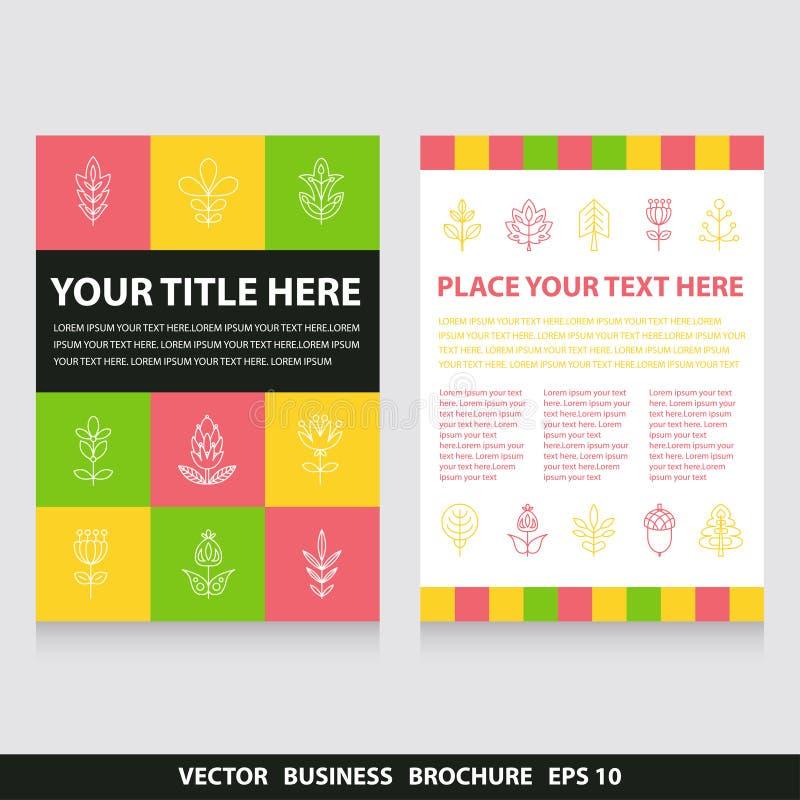 Vektorreklambladbroschyr med blommor och trädsymboler stock illustrationer