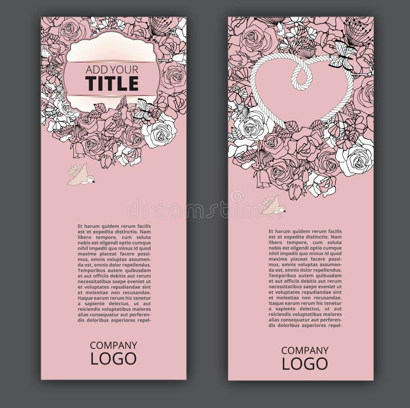Vektorreklambladuppsättning med blommadesign vektor illustrationer