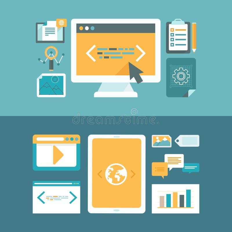 Vektorrengöringsdukutveckling och marknadsföring för digitalt innehåll royaltyfri illustrationer