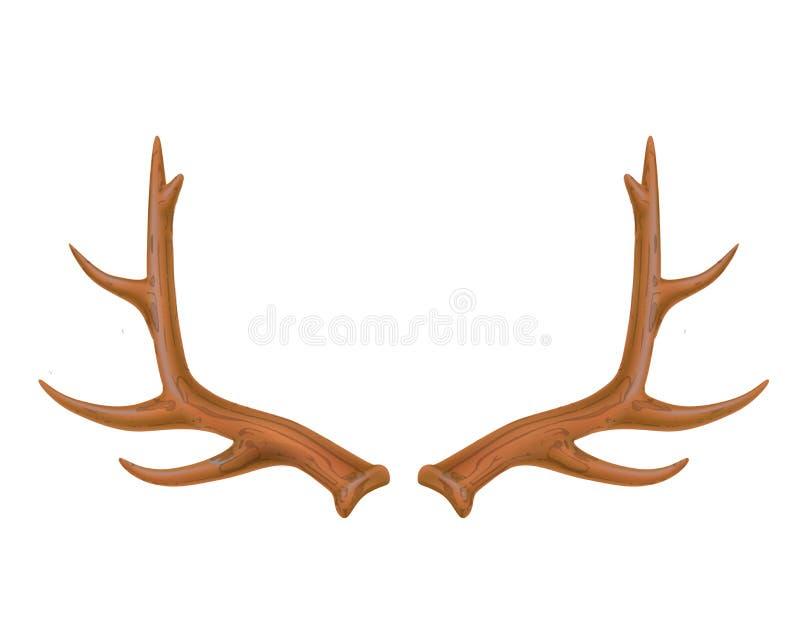 Vektorrenhorn på kronhjort, realistisk logo för hjorthorn stock illustrationer