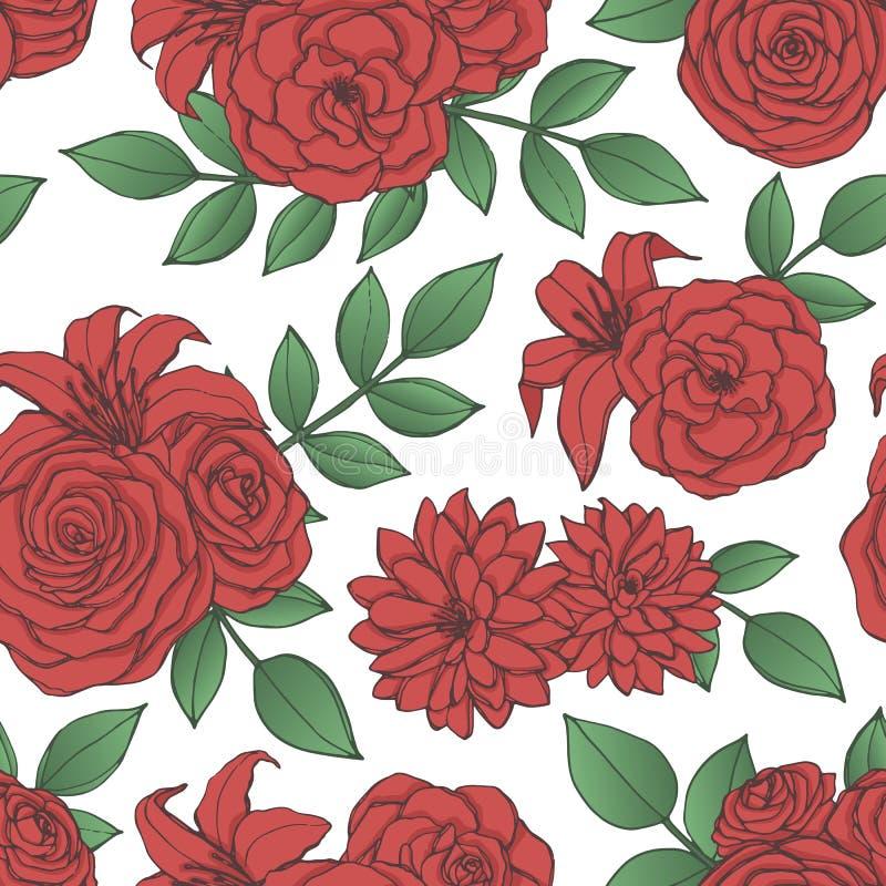 Vektorrepetitionmodell med den röda liljan, krysantemum, kamelia, pion och rosa blommor och sidor vektor illustrationer