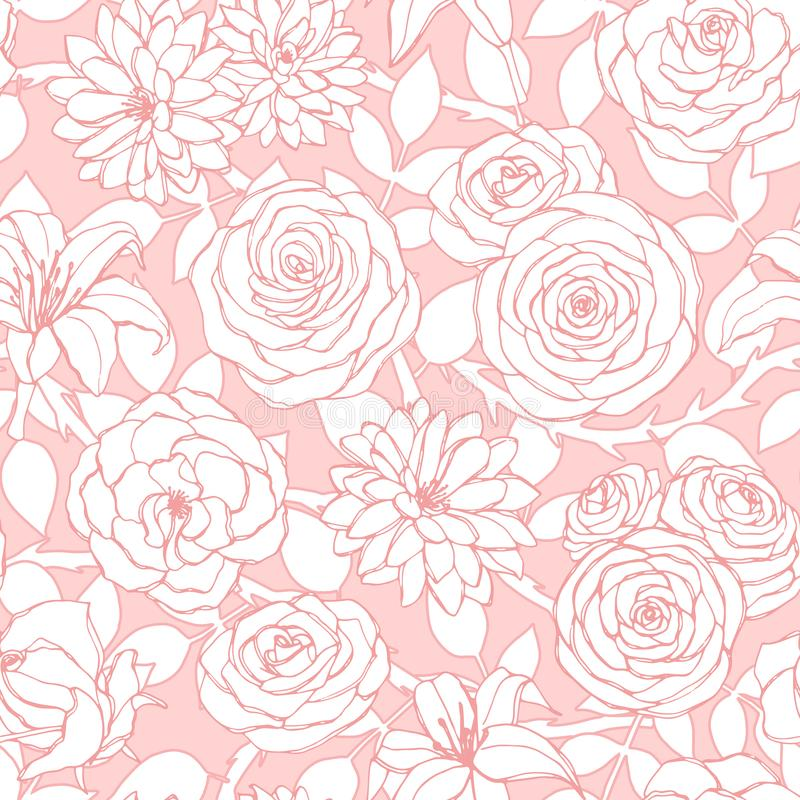 Vektorrepetitionmodellen med liljan, krysantemumet, kamelian, pion och steg blommaöversikten på den rosa bakgrunden stock illustrationer