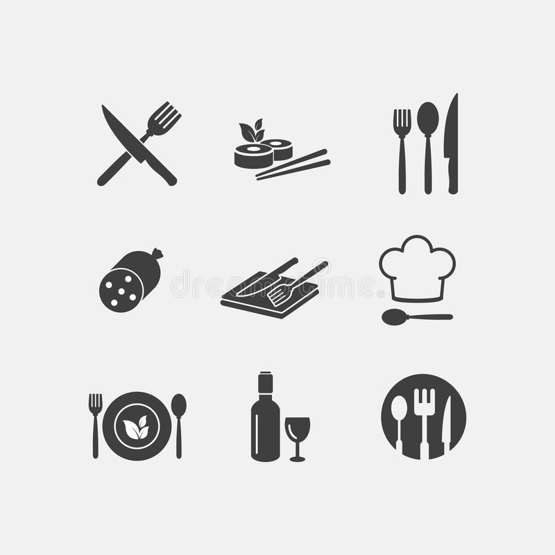 Vektorrestaurantlebensmittelikonen-Menüküche lizenzfreie abbildung