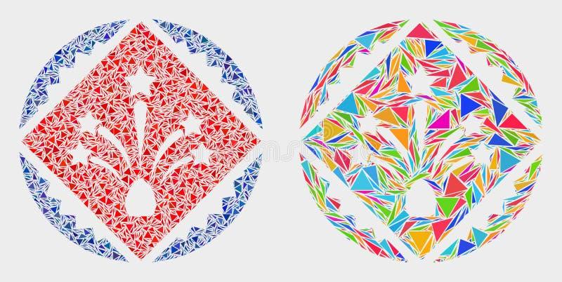 Vektorrombfyrverkerier stämplar den mosaiska symbolen för skyddsremsan av triangelobjekt royaltyfri illustrationer