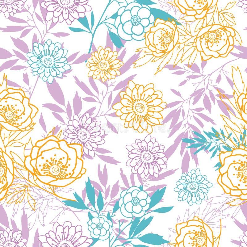 Vektorrosa färgen, guling, blått lämnar och blommar den sömlösa modellen för sommar med pastellfärgade växter och sidor på vit ba stock illustrationer