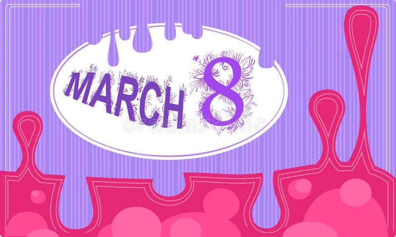 Vektorrosa färger och marsch för violetkort åtta med ramen vektor illustrationer