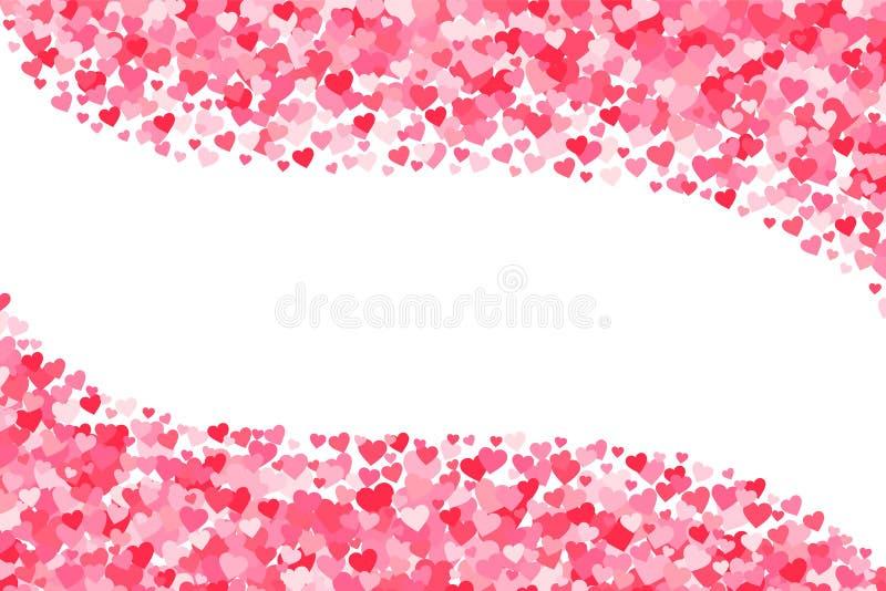 Vektorrosa färger & röd bakgrund för valentindaghjärtor royaltyfri illustrationer