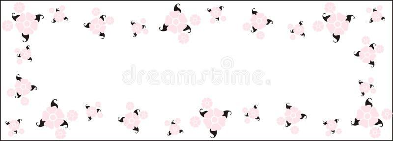 Vektorrosafarbener Retro- Blumen-Rand lizenzfreie abbildung