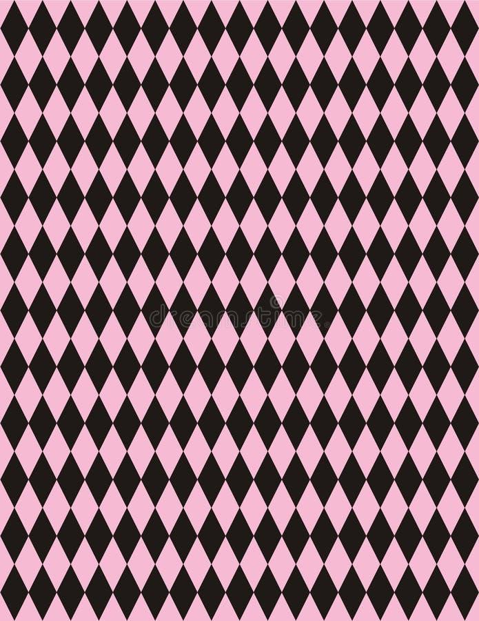 Vektorrosafarbener schwarzer Harlekin-Hintergrund lizenzfreie abbildung