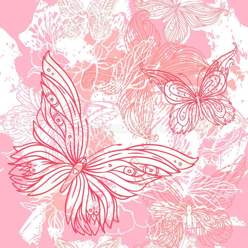 Vektorrosafarbenes Hochzeit Blumengrunge nahtloses Muster vektor abbildung