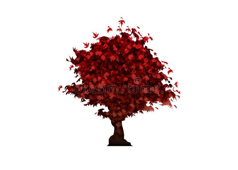 Vektorrotahornbaumikone lokalisiert auf weißem Hintergrund Acer Palmatum, Deshojo, Bonsaischarlachrot Baum des japanischen Ahorns lizenzfreie abbildung