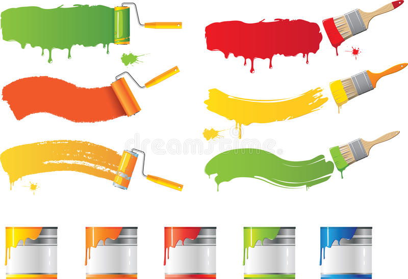 Vektorrullen och målar borstar vektor illustrationer
