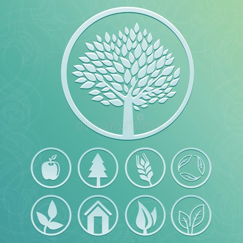 Vektorrundaetiketter med träd- och natursymboler royaltyfri illustrationer
