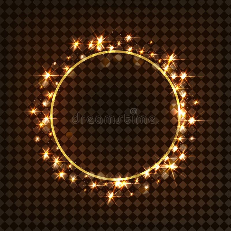 Vektorrundaram Glänsande cirkelbaner på svart genomskinlig bakgrund royaltyfri illustrationer