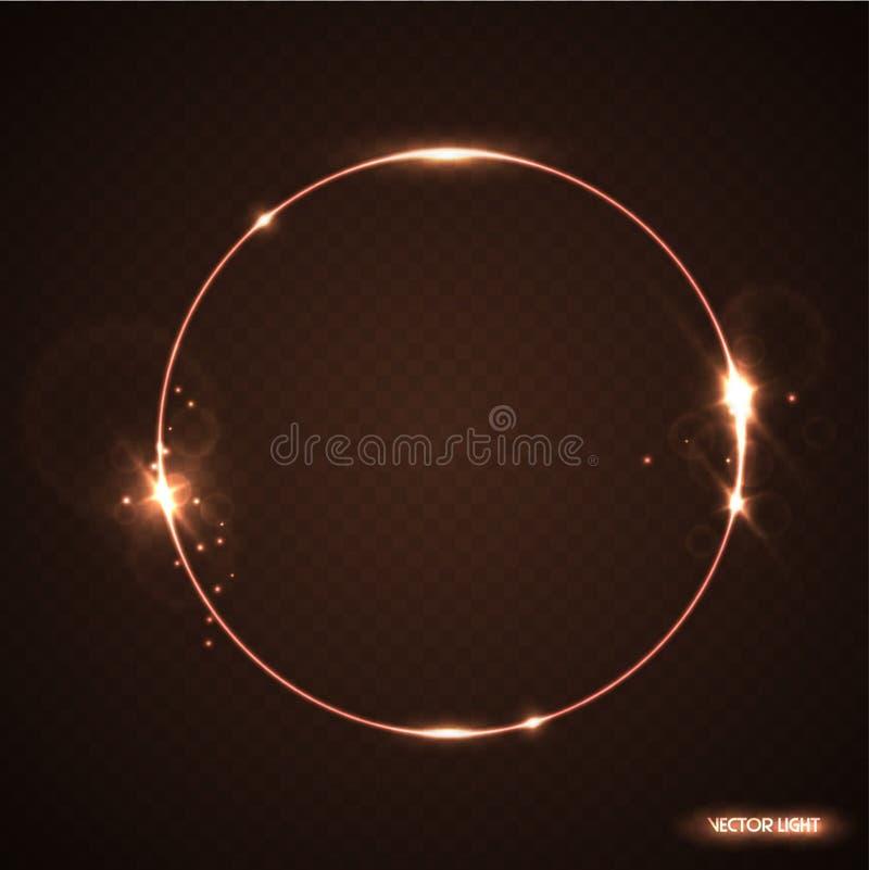 Vektorrundaram med gnistor och strålkastaren Glänsande cirkelbaner Vektorillustration som isoleras på svart genomskinlig bakgrund royaltyfri illustrationer