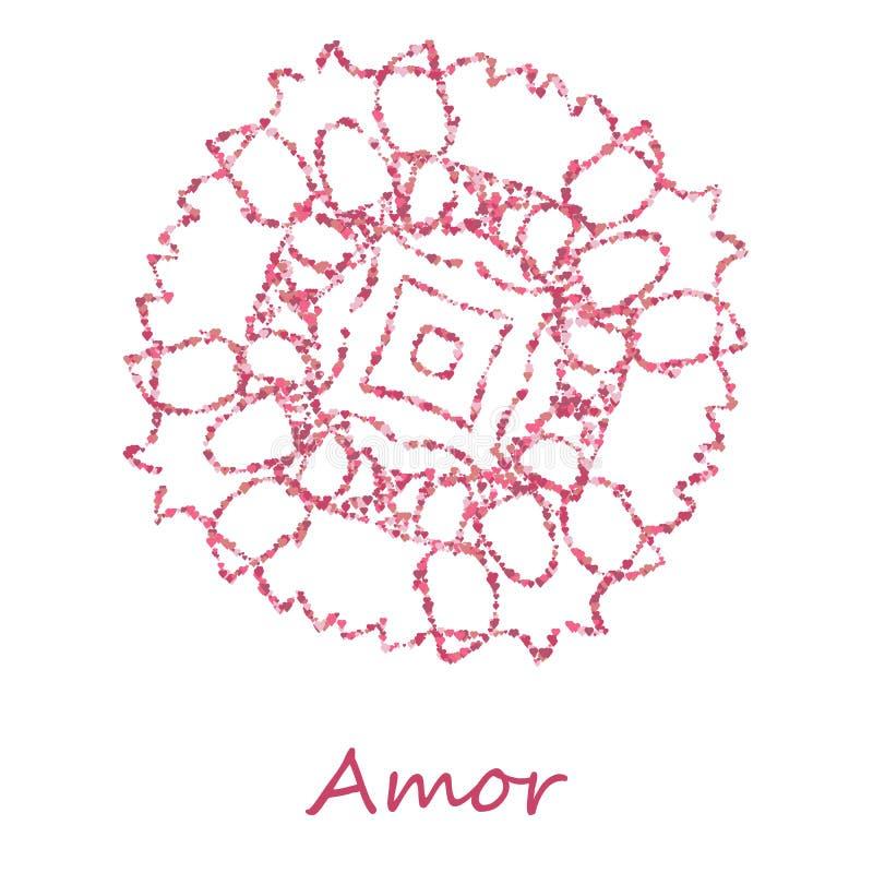 Vektorrundes Blumenmuster lokalisiert auf Weiß Heilige Geometrie Geometrischer Entwurf für Textilt-shirt Druck, Flieger und stock abbildung
