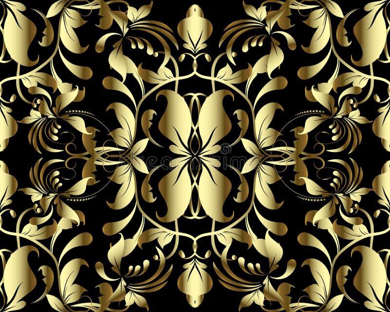 Vektors des Gold-nahtloses Muster des Blumen-Damastes 3d Weinlese ornamenta lizenzfreie abbildung