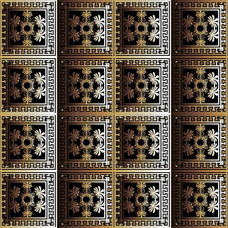 Vektors des Zusammenfassungsnahtloses Muster des karierten Blumen-Griechen 3d Orna stock abbildung