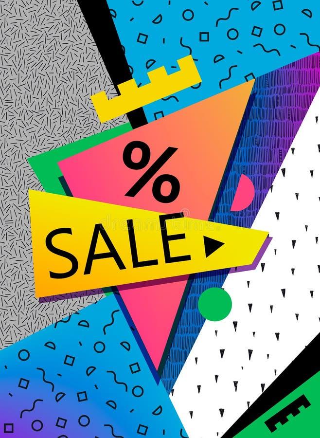 VektorSale baner, affisch, reklamblad Den stora försäljningen, specialt erbjudande, avfärdar vektorillustrationen Retro 90-talsti royaltyfri illustrationer
