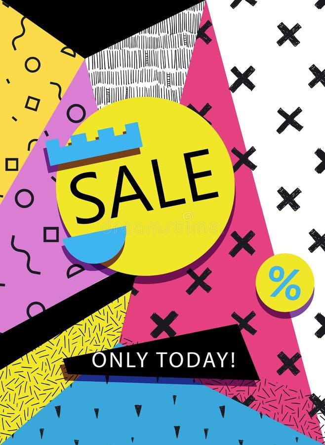 VektorSale baner, affisch, reklamblad Den stora försäljningen, specialt erbjudande, avfärdar vektorillustrationen Retro 90-talsti vektor illustrationer