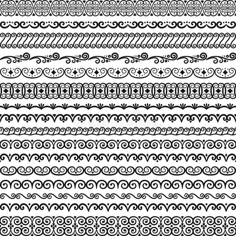 Vektorsamling av ?ndl?sa gr?nser f?r tappning Borstar inklusive i mappen vektor illustrationer