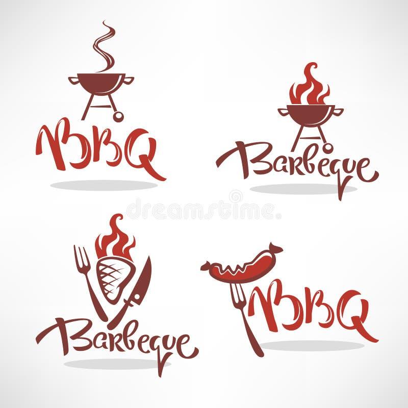 Vektorsamling av BBQ-logo, etiketter, symboler och emblem med att märka sammansättning royaltyfri illustrationer