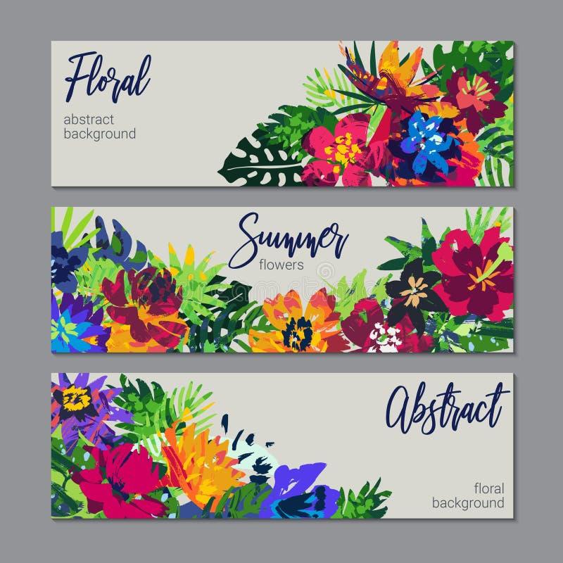 Vektorsamling av buketter f?r tropiska v?xter och blommaoch hand m?lad textur stock illustrationer
