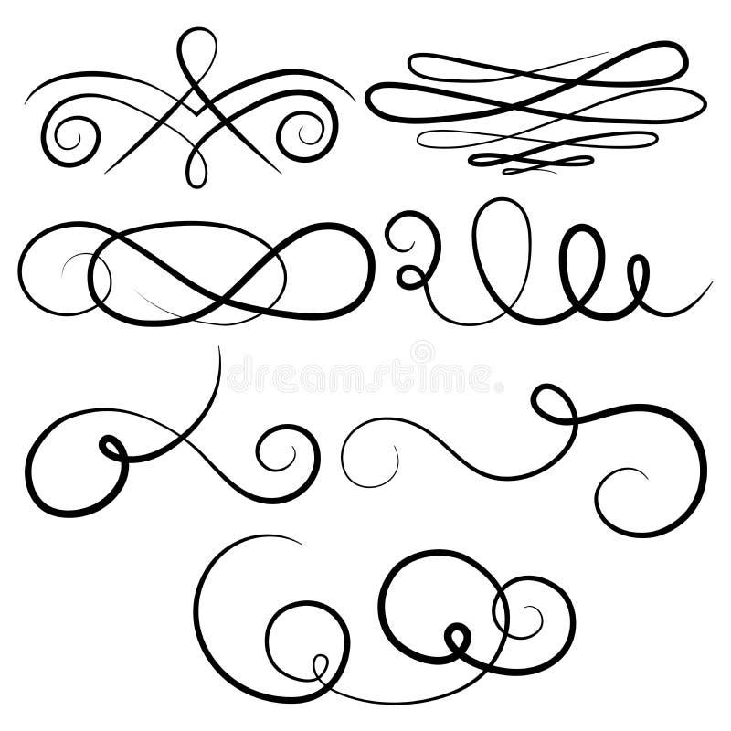 Vektorsamling av calligraphic designbeståndsdelar vektor illustrationer