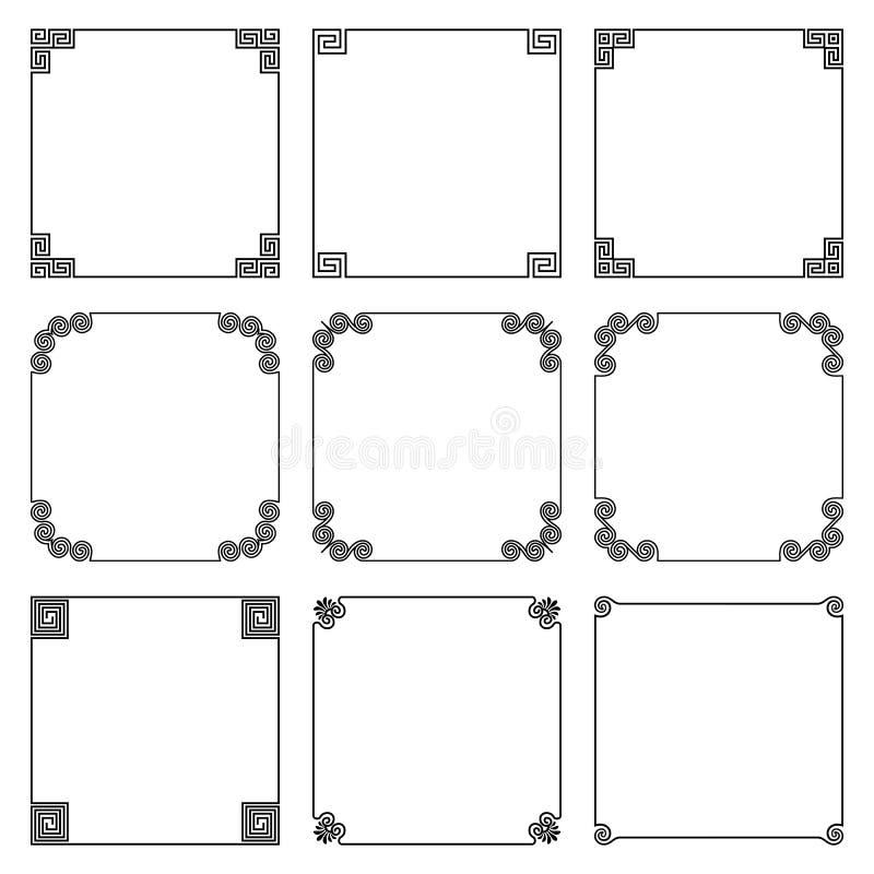 Vektorsamling av den enkla fyrkantiga ramen i grekisk stil royaltyfri illustrationer