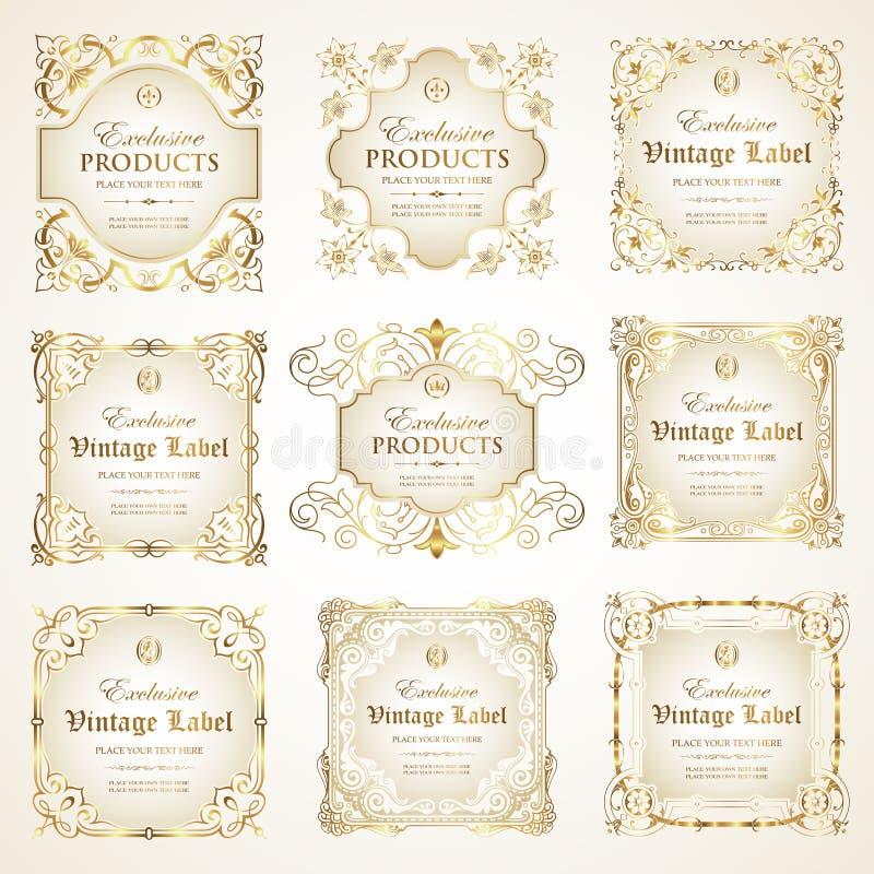 Vektorsamling av den lyxiga utsmyckade vita guld-inramade etiketten stock illustrationer